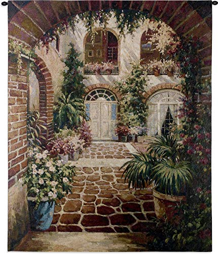 Courtyard Vista | Woven Tapestry Wall Art Hanging | Comforting Lush Greenery in Villa | 100% Cotton USA Size 53x42