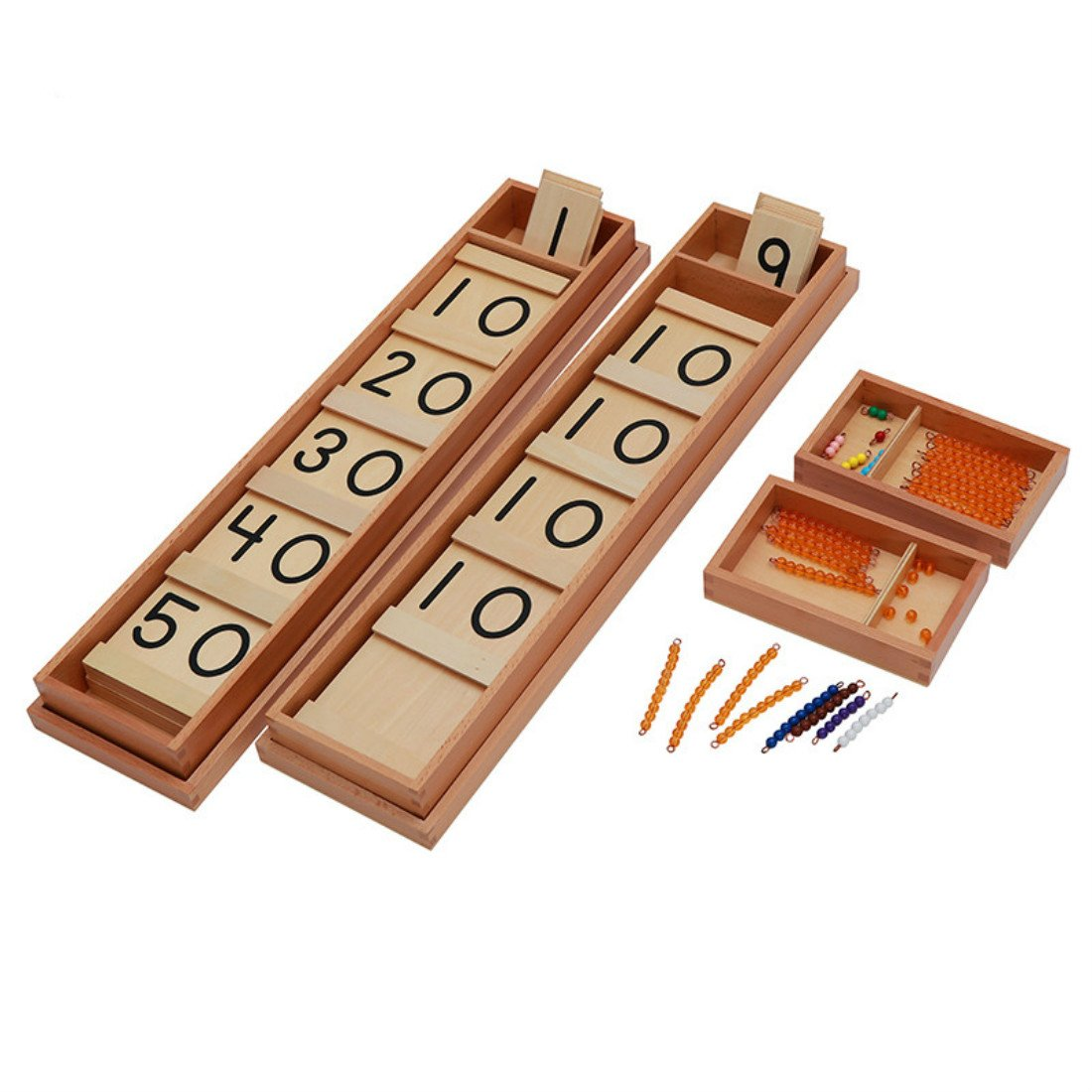 Montessori Math Teens and Tens Seguin Board with Bead Bars Wood Toys Early Childhood Education Preschool Training Baby by DANNI (Image #1)