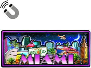 "Miami Florida Dual Layer MDF Magnet 2"" x 4.5"""