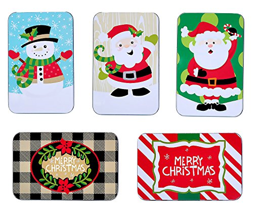 Juvale Assorted Christmas Card Tin Holders Box Set (Set of 5)