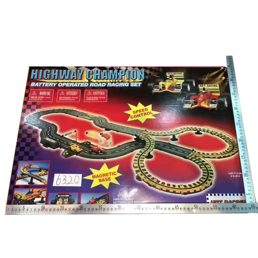 Highway Champion: Battery Operated Road Racing Set Electric RC Track Sets for Kids Gift Toy Railway Tracks Cars Child Interaction Remote Control Rail Car Toytexx Inc