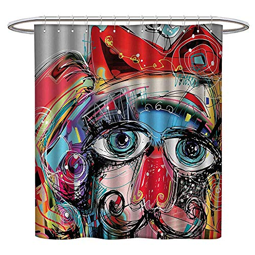 TimBeve Polyester Shower Curtain Art,Grafitti Like Sketchy Style Colorful Painting with Human Like Face Dog Animal Image,Multi Colored,Washable,Durable,Brick Dobby Pattern for Bathroom 47