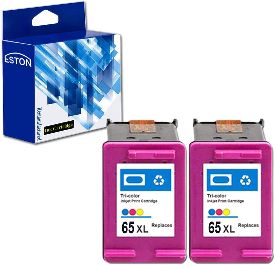 ESTON Remanufactured Ink Cartridge Replacement for HP 65XL 65 XL Used for Envy 5055 5052 5058 DeskJet 2655 2622 2624 2652 3755 3752 3720 3723 3730 3732 Printer (2 Tri-Color) Newest Chips