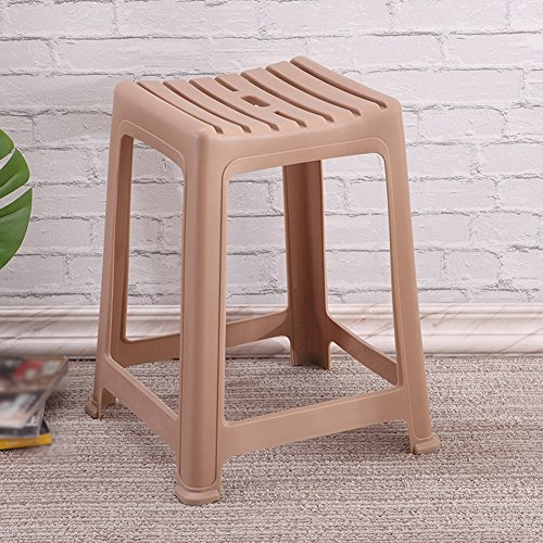 (Stools Footstool Work Stool Shower Stool Plastic Household Thicken Square Stool Dining Table High Simple Stripe (Unit Price, 2 from The Sale) ZHANGQIANG (Color : Brown, Size : Square))