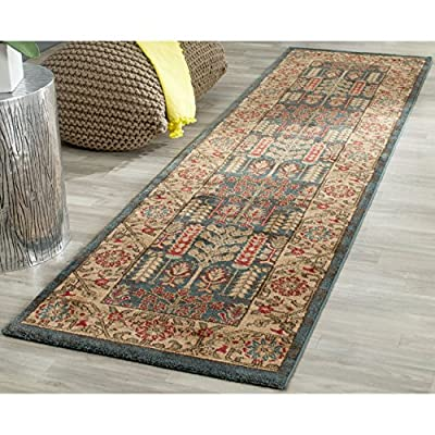 "Safavieh Mahal Collection MAH697E Traditional Oriental Navy and Natural Runner (2'2"" x 10') - The high-quality polypropylene pile fiber adds durability and longevity to these rugs The power loomed construction adds durability to this rug, ensuring it will be a favorite for many years The traditional style of this rug will give your room a elegant accent - runner-rugs, entryway-furniture-decor, entryway-laundry-room - 61%2BMgrHpXjL. SS400  -"