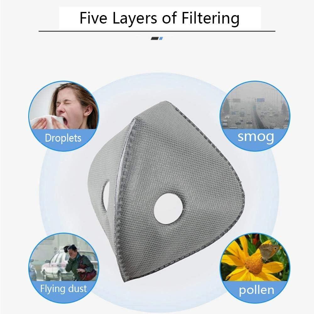 esqu/í Transpirable Velo de Polvo de carb/ón Activado con 5 filtros Motos MAZI Anticontaminaci/ón Filtro de Polvo Deportivo para Actividades al Aire Libre Ciclismo
