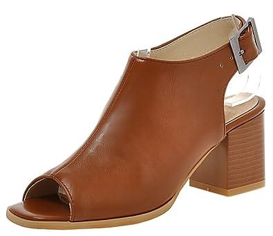 15a690524 SHOWHOW Women's Fashion Peep Toe Mid Chunky Heels Mule Booties Brown 10.5  B(M)