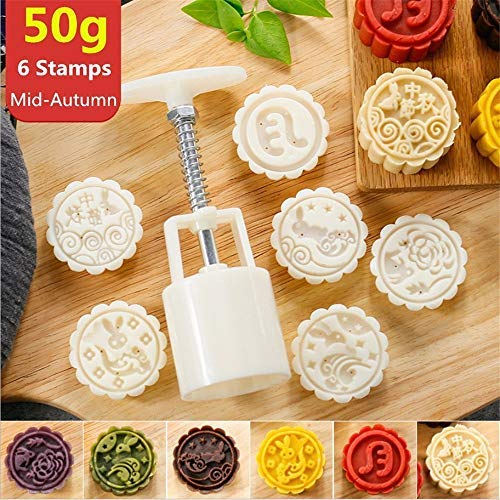 Mooncake Mold With 6 Stamps - Mid Autumn Festival Moon Cake Mold DIY Decoration Cookie Press 50g White (1 Mold 6 Stamps) ()