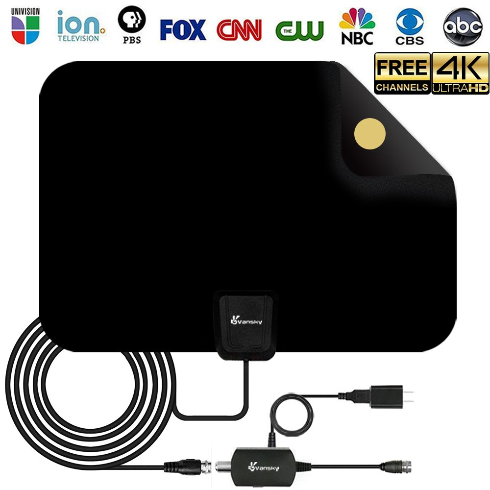 [2018 Upgraded] HDTV Antenna - Digital Amplified HD TV Antenna 50-80 Mile Range 4K HD VHF UHF Freeview Television Local Channels w/Detachable Signal Amplifier and 16.5ft Longer Coax Cable by Vansky