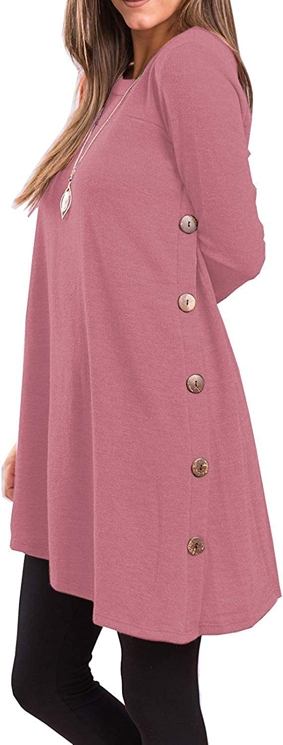 I2CRAZY Tops for Women Long Sleeve Round Neck Tunics Casual Oversized Pullover Sweatshirts-2XL,Pink