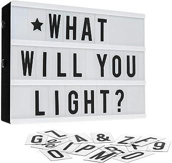 Caja de luz LED, A4 LED Cinema Box, Caja ligera con 96 letras y ...