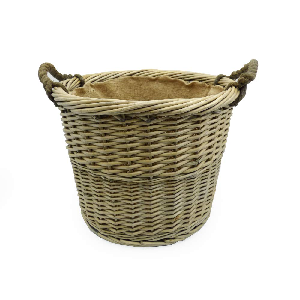Deluxe Large Wicker Round Log or Laundry Storage Basket, Hessian Lined with Lifting Handles (L x W x H) 490 dia x 380mm (460mm with handle) - Gift idea for Christmas, Birthday, Toy Box Fine Food Store