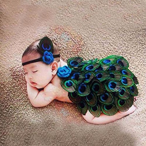Peacock Style Newborn Baby Photography Props Animal Feather Design Photo Props with Headband