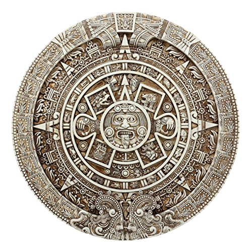 Ebros Mexica Aztec Solar Xiuhpohualli & Tonalpohualli Wall Calendar Sculpture 10.75
