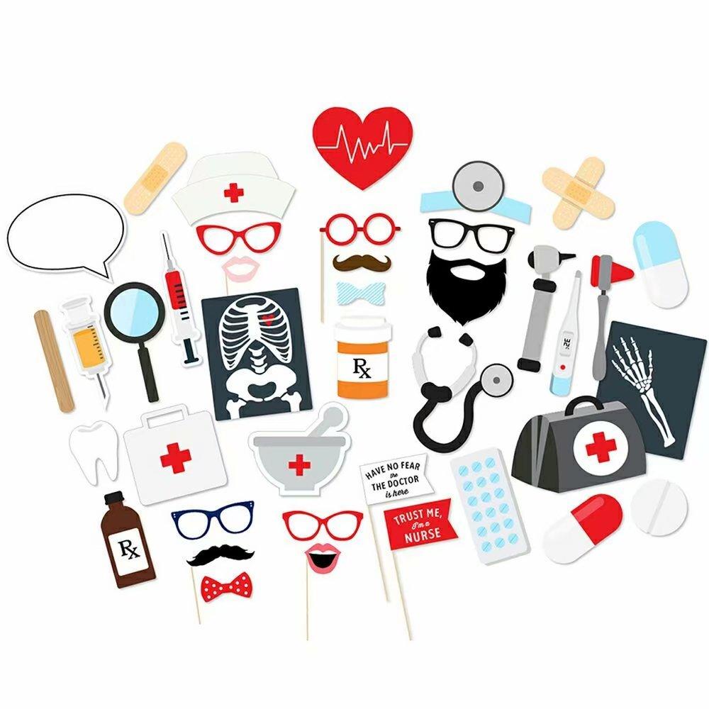 DMMASH 40 Pz Dentista Infermiera Elettrocardiogramma CT Scan Decorazione Del Partito Photo Booth Puntelli Festa Di Compleanno Forniture Photobooth Prop
