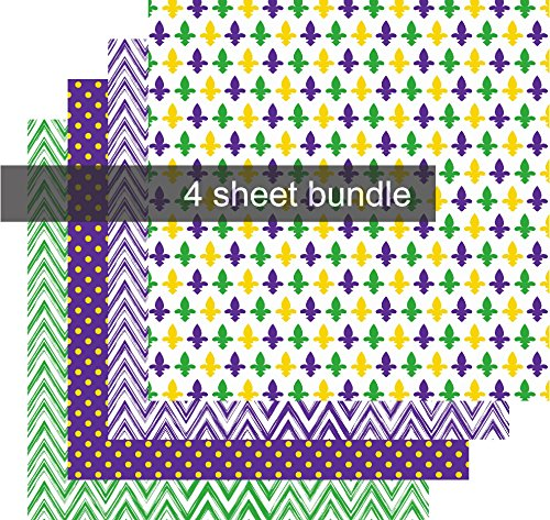 - Mardi Gras Vinyl Sheets, Purple Green and Gold Vinyl, Fleur de Lis Chevron Polka Dot 4-12