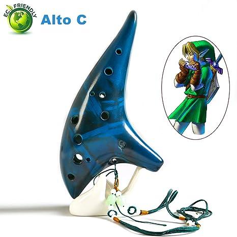 Sunandy Legend of Zelda Ocarina de 12 agujeros, ocarina de cerámica, instrumento musical,