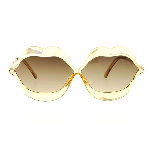 aa56fe15e0 Amazon.com  SA106 Love Lip Shape Kiss Womens Sunglasses Beige  Clothing