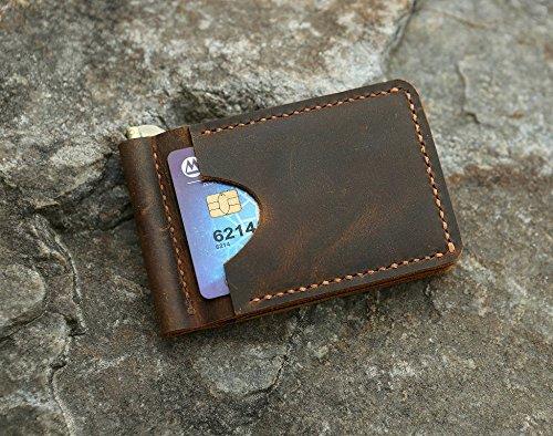 77cb224ee2db Amazon.com: Personalized Distressed leather card wallet , Men leather slim  Money clip wallet ,Minimalist slim card Bifold wallet: Handmade