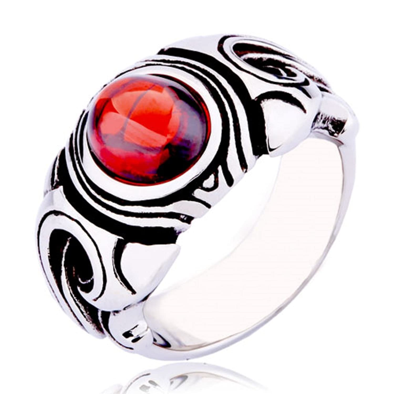 Moon Wings Vintage Men s Women s Ring Stainless Steel Ruby Ring