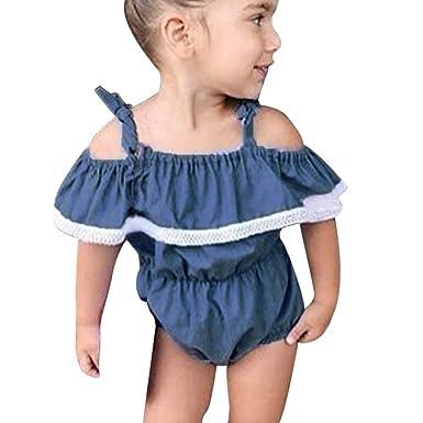 0f537025514 Hatoys Toddler Baby Gilrs Off Shoulder Bandages Denim Ruffles Jumpsuit  Playsuit Bodysuit Sunsuit Outfit Romper (