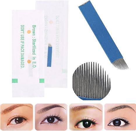 50 Unids / caja 3D Tatuaje de Cejas Manual Microblading Maquillaje ...
