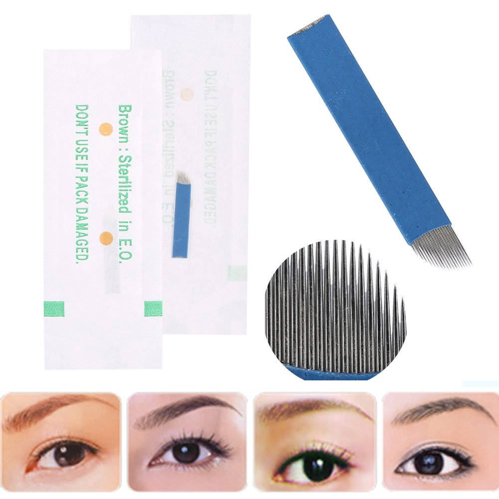 50 Unids / caja 3D Tatuaje de Cejas Manual Microblading Maquillaje Permanente Aguja Estéril 18 Pin Cuchilla Brino