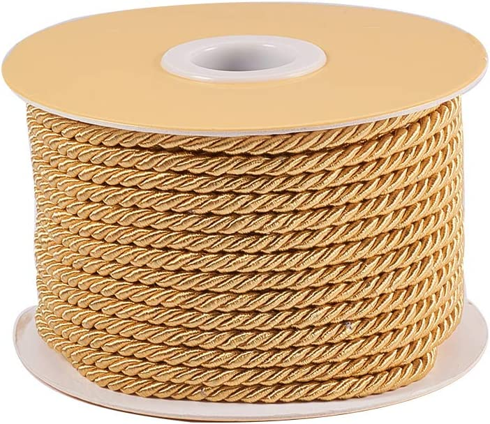 PH PandaHall 3mm/ 20 Yards Twisted Cord Rope Nylon Twisted Cord Trim Thread String for Home Décor, Upholstery, Curtain Tieback, Honor Cord (Khaki)