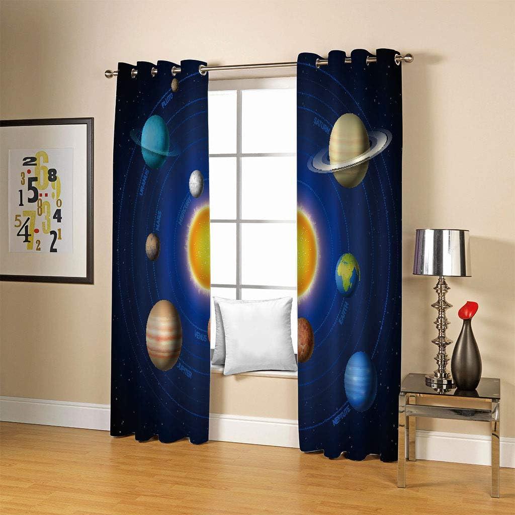 HHAZZ Gardinen Schlafzimmer Wohnzimmer Verdunkelungsvorhang Digitaldruck 3D Universum Planet Sonnensystem Blickdicht Vorh/änge Kinderzimmer Thermovorhang Mit /Ösen 160x100cm(H X B) 2Er Set