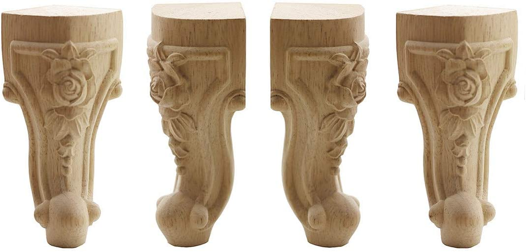 """WEICHUAN Solid Unfinished Carved Wood Furniture Legs Replacement Sofa Couch Chair Ottoman Loveseat Coffee Table Cabinet Furniture Wood Legs Wood Feet(8"""" Set of 4)"""