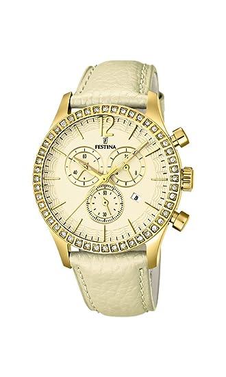 Festina F16605/4 - Reloj cronógrafo de cuarzo para mujer con correa de piel, color dorado: Amazon.es: Relojes