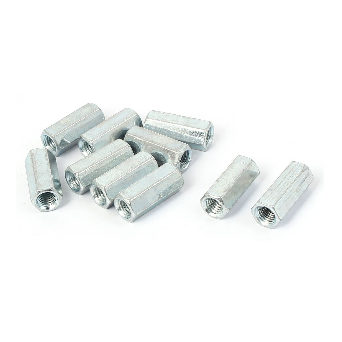 Uxcell a16041400ux0820 M8 Female Thread Straight Fitting Hex Rod Coupling Nuts Silver Tone 10 Pcs (Pack of 10)