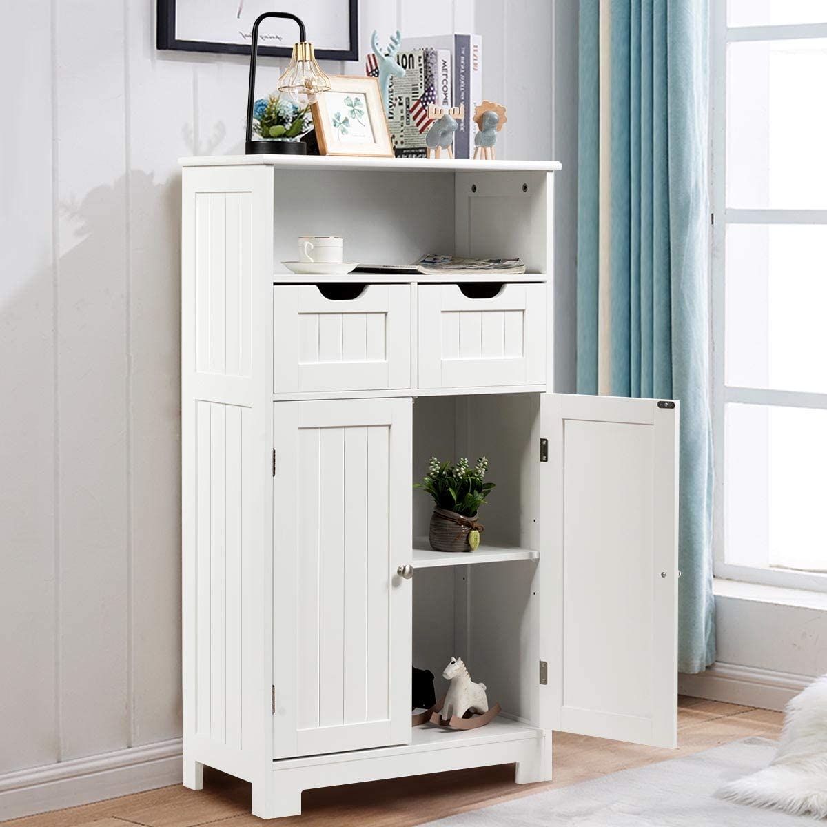 Tangkula Bathroom Floor Cabinet, Wooden Storage Cabinet w Open Shelf, 2 Doors and 2 Drawers, Cabinet for Living Room Bathroom Home Office White