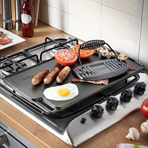 VonShef Black Pre-Seasoned Cast Iron Reversible Griddle Plate & Meat/Bacon Press18 x 10 Inches by VonShef (Image #2)
