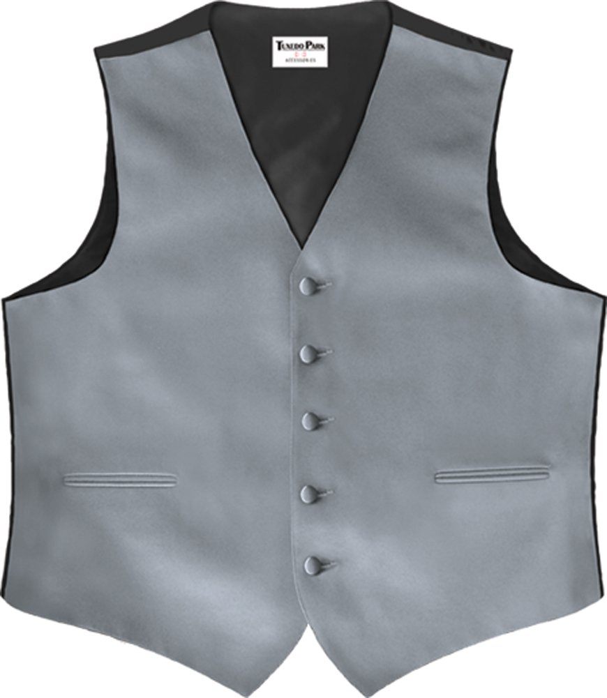 Silver Satin 5 Button Full Back Vest, 4XL