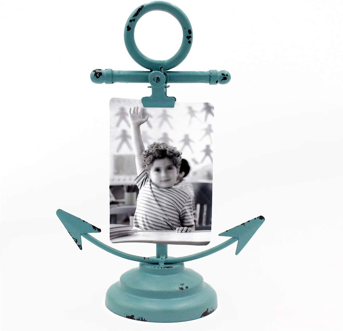 Funly mee Vintage Shabby Chic Nautical Element Iron Anchor Photo Clip, Memo Holder,Table Decoration Clamps Stand Holder for Name Card 、Children Photo,Picture, or Note Message (Blue Anchor)