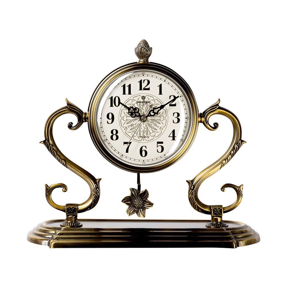 XHMCDZ ヨーロッパスタイル黒アラビア数字マンテルクロック、現代人格金属デスクトップテーブル振り子時計、クリエイティブ時計装飾用ホームデコレーションリビングルームの寝室 (色 : Style 1) B07QRTGZK7 Style 1
