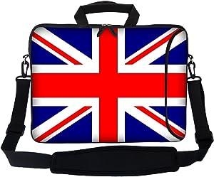 "Meffort Inc 17 17.3 inch Neoprene Laptop Bag Sleeve with Extra Side Pocket, Soft Carrying Handle & Removable Shoulder Strap for 16"" to 17.3"" Size Notebook Computer - England Flag Design"