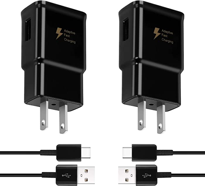 Adaptive Fast Charger Compatible with Samsung Galaxy s9/ s9 Plus/ s10/ s10+/ s10e/ s8/ s8 Plus/Note 9/ Note 8/ Active, Wall Charger Adapter with USB Type C Cable
