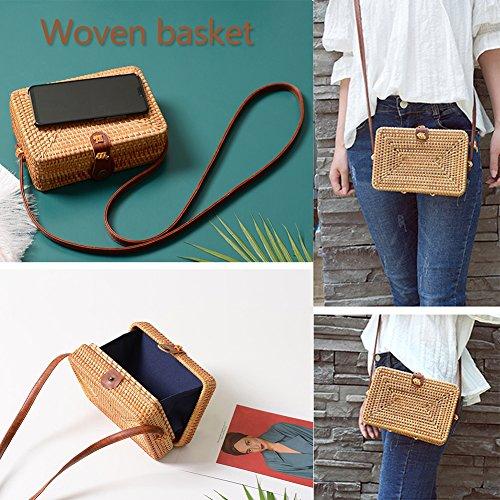 Amazon.com: cheerfullus Small Square Shoulder Bag Vintage Bohemian Rattan Woven Summer Beach Bag for Women: Home & Kitchen