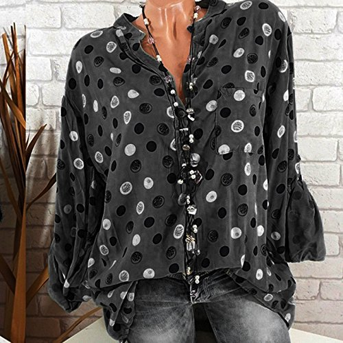 Shirt d'impression Manches Debout Femme Tops LaChe Collier Blouse Taille Point Tee Wave Shirt LULIKA T Longues Noir Grande H54AAq