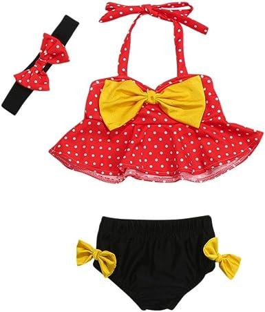 Ropa bebé Bañador bebé niñas Bañadores de Verano Traje de baño de Punto Correas para Chicas Tops Pantalones Cortos Diademas 3 Pcs Conjunto de Bikini 6 Mes -2 años (Rojo, Tamaño:3-6Mes): Amazon.es: