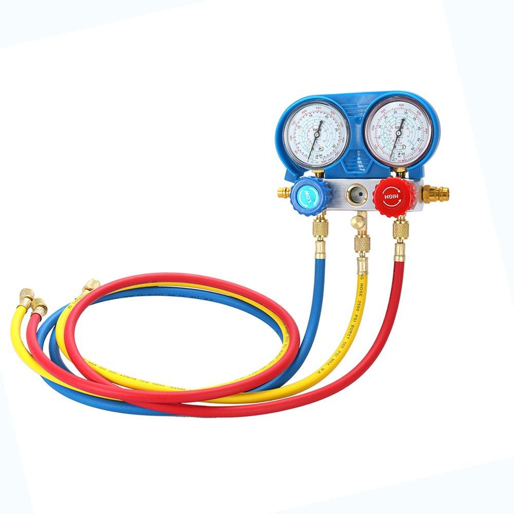 KKmoon Car Air Conditioning Refrigerant Freon Double Valve Pressure Gauge Diagnostic Repair Tool Kit