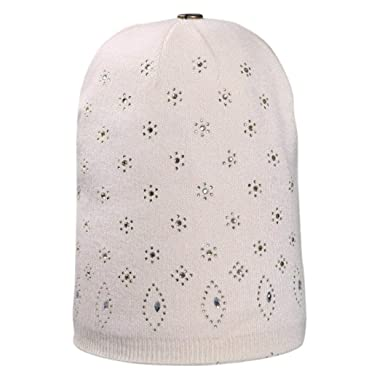 1740a6e927f Hunputa Women s Hat Winter Rhinestones Cable Knit Beanie Winter Warm  Crochet Hats Chunky Stretch Slouchy Hat Ski Cap One Size Beige  Amazon.in   Clothing   ...