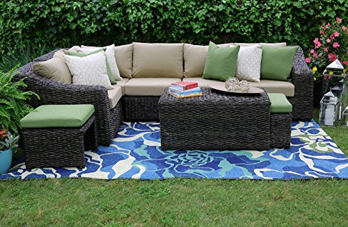 AE Outdoor Williams 8 Piece Sectional with Sunbrella Fabric
