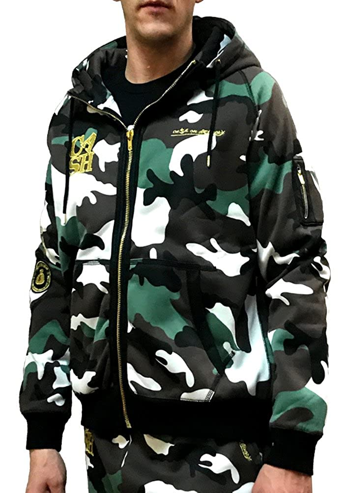 c01a37d10dfc Amazon.com  Cash ON DELIVERY Cash Logo Zip Up Hoodie Sweatshirt ...