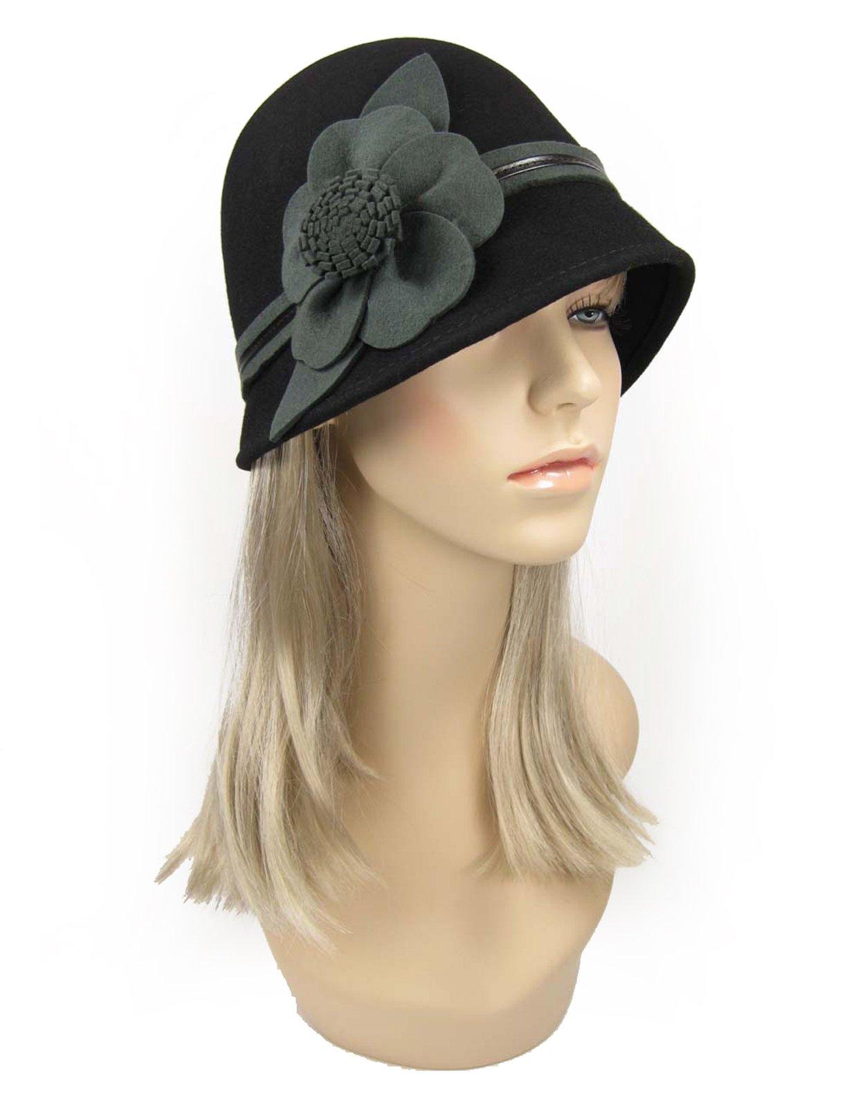 623de02e Galleon - 1920's Style Wool Cloche Bucket Hat With Flower Black ((One Size  (56 Cm - 60 Cm))