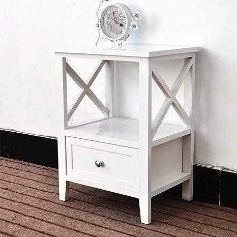 EXQUI Mesita de noche con estante y cajón, mesita de noche blanca para recámara, armario de madera, unidad de almacenamiento, mesa consola pequeña ...