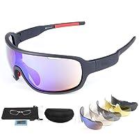 Lorsoul Polarized Sports Sunglasses UV400 With 5 Interchangeable Lenes for Men Women Cycling Running Driving Fishing Golf Baseball Glasses