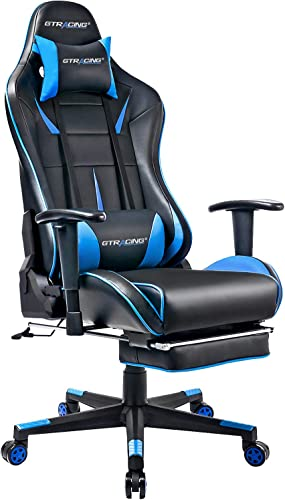 GTRACING Gaming Chair with Footrest Racing Computer Chair PU Leather Ergonomic High-Back Adjustable Height Professional E-Sports Chair with Headrest and Lumbar Pillows Black Blue